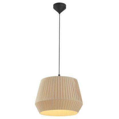 lampa wisząca z beżowym plisowanym abażurem