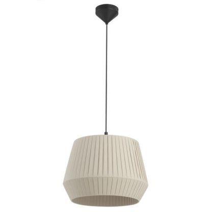 lampa wisząca z beżowym abażurem w plisy