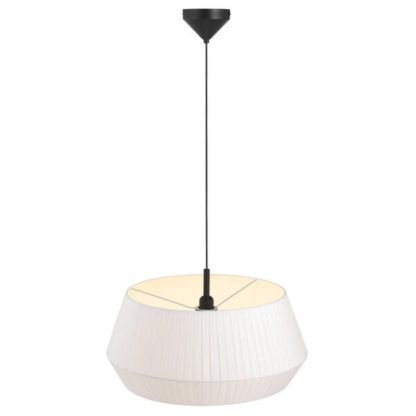 duża lampa wisząca z plisowanym abażurem do jadalni