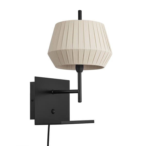 Czarny kinkiet Dicte - Nordlux, beżowy abażur, port USB