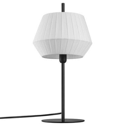 czarna lampa stołowa z plisowanym abażurem
