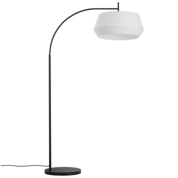 Czarna lampa podłogowa Dicte - Nordlux, biały abażur