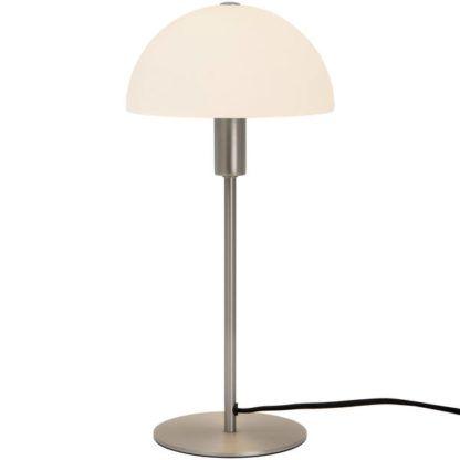srebrna lampa stołowa z białym kapeluszem