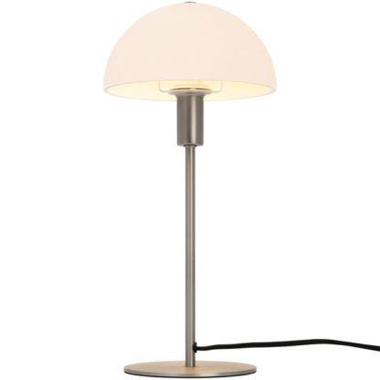 srebrna lampa stołowa grzybek