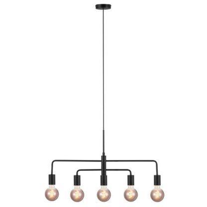 czarna lampa wisząca z odsłoniętymi żarówkami
