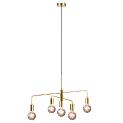 złota lampa art deco nad stół