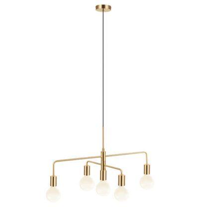 złota lampa wisząca z regulowanymi ramionami