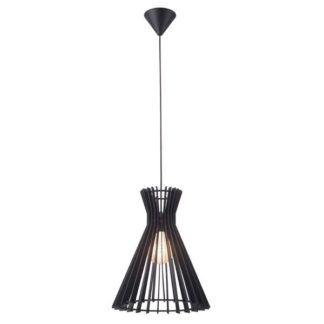 Czarna lampa wisząca Groa - Nordlux, ażurowy, drewniany klosz