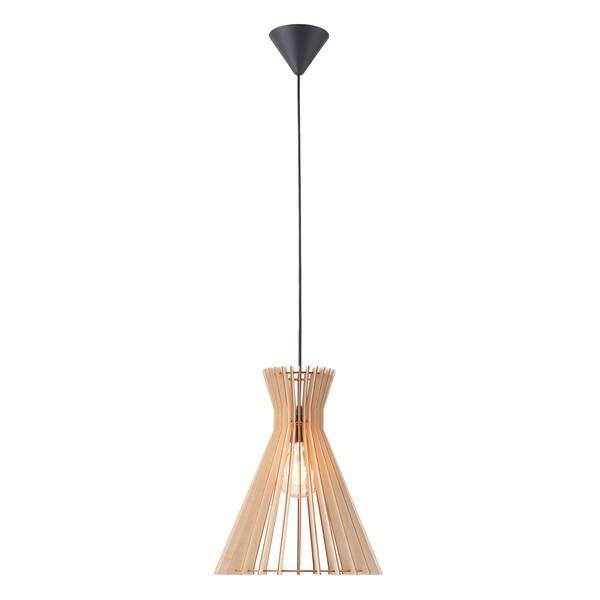 Drewniana lampa wisząca Groa - Nordlux, ażurowy klosz