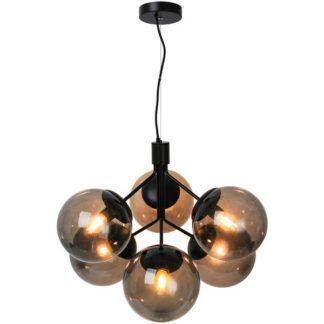 Czarna lampa wisząca Ivona 6 - szklane klosze
