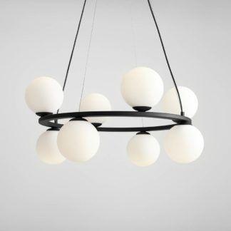 Elegancka lampa wisząca Corone 6 - czarna, szklane klosze