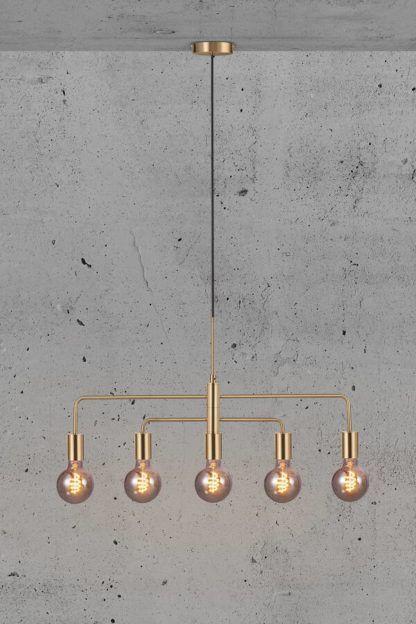 złota lampa wisząca regulowane ramiona