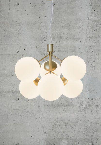 Lampa wisząca Ivona 6 - Nordlux, mleczne kule, złota
