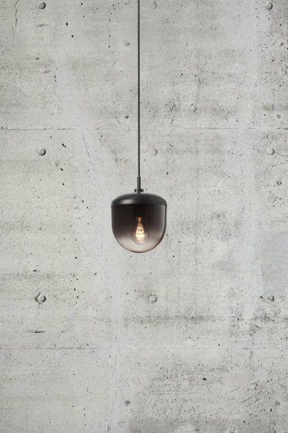 Czarna lampa wisząca Magia 18 - Nordlux, szklany klosz
