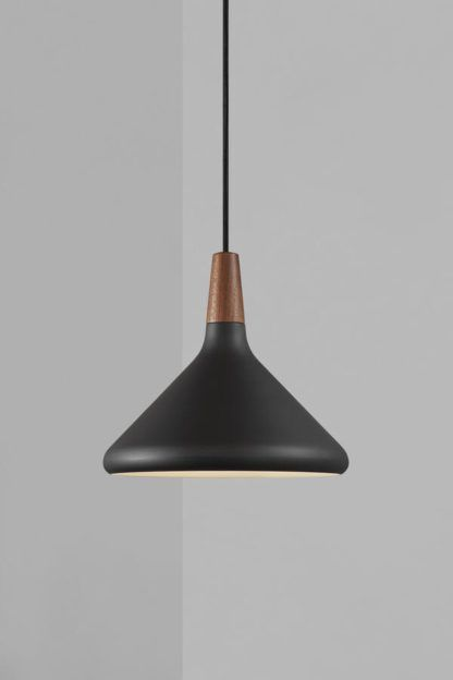 Czarna lampa wisząca Nori 27 - DFTP, otwarty klosz, nad stół