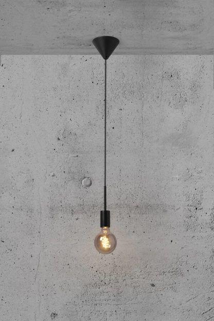 Czarna lampa wisząca Paco - Nordlux, regulowany zwis