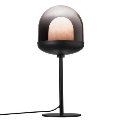 czarna lampa stołowa z podwójnym kloszem
