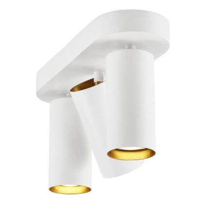regulowana lampa sufitowa z trzema reflektorami