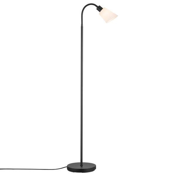 czarna lampa podłogowa z małym białym kloszem