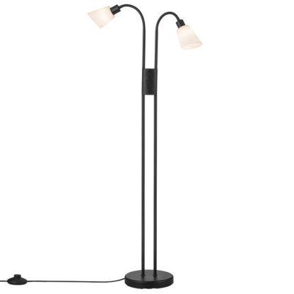 czarna podwójna lampa podłogowa do salonu