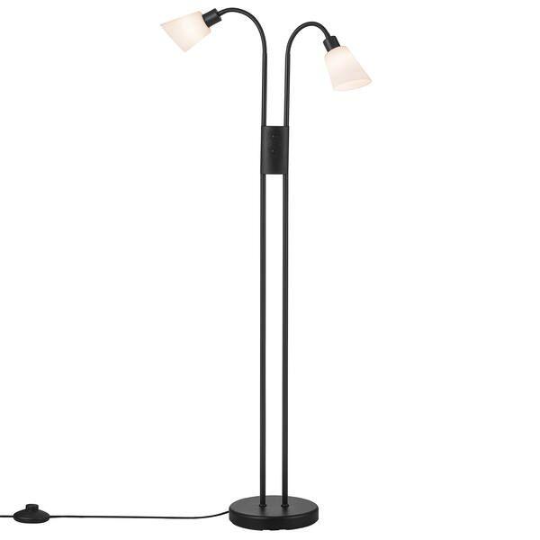 lampa podłogowa z podwójnym kloszem i włącznikiem