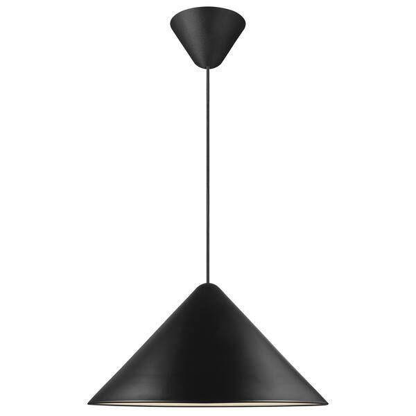 Czarna lampa wisząca Nono 49 - DFTP, szeroki klosz
