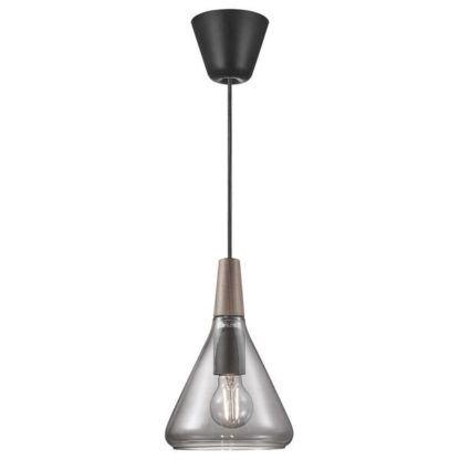 Szara lampa wisząca Nori 18 - DFTP, szklany klosz, drewniany detal