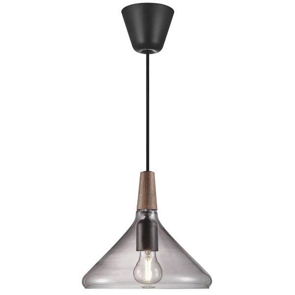 Szklana lampa wisząca Nori 27 - DFTP, szara, drewniany detal
