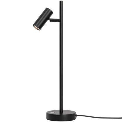 czarna lampa stołowa z regulowanym kloszem