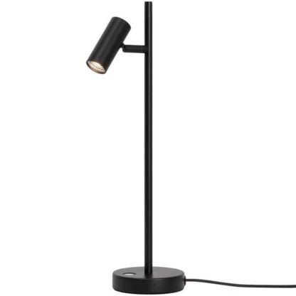 czarna lampa stołowa z regulowanym reflektorem