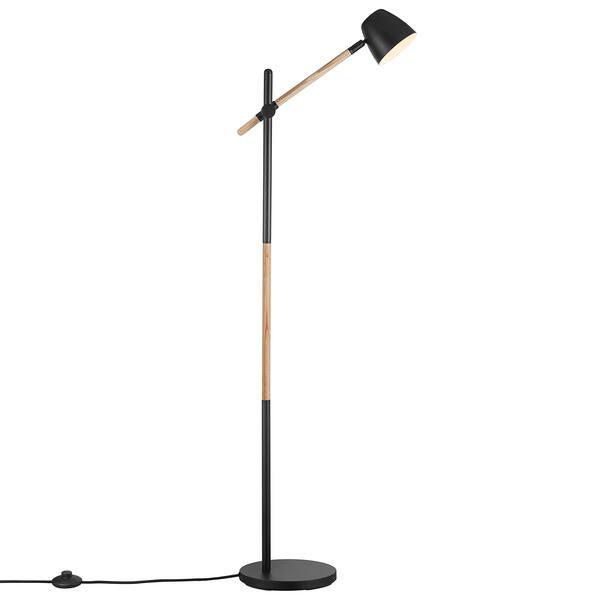 lampa podłogowa na drewnianej nóżce
