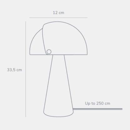 Szara lampa stołowa Align - DFTP, przesuwany klosz