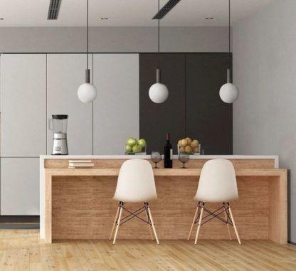 szara lampa wisząca do nowoczesnej kuchni