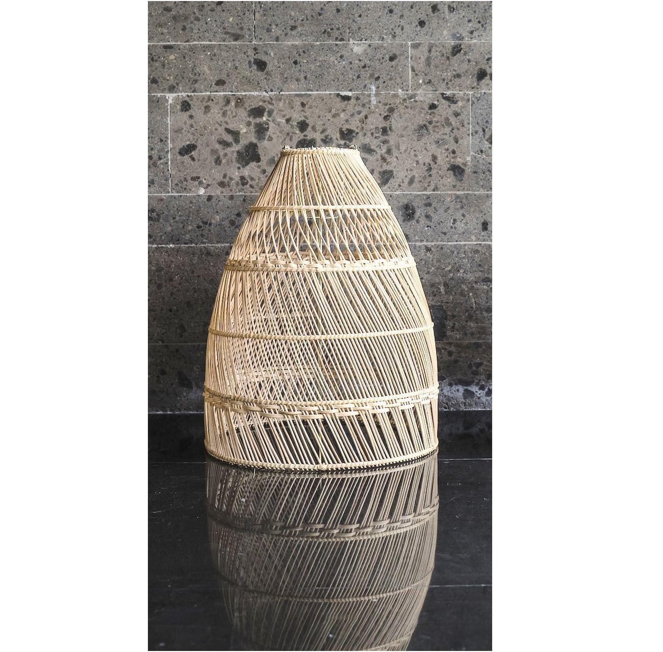 lampa wisząca rollo boho z rattanu nad stół do kuchni