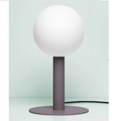 fioletowa lampa stołowa