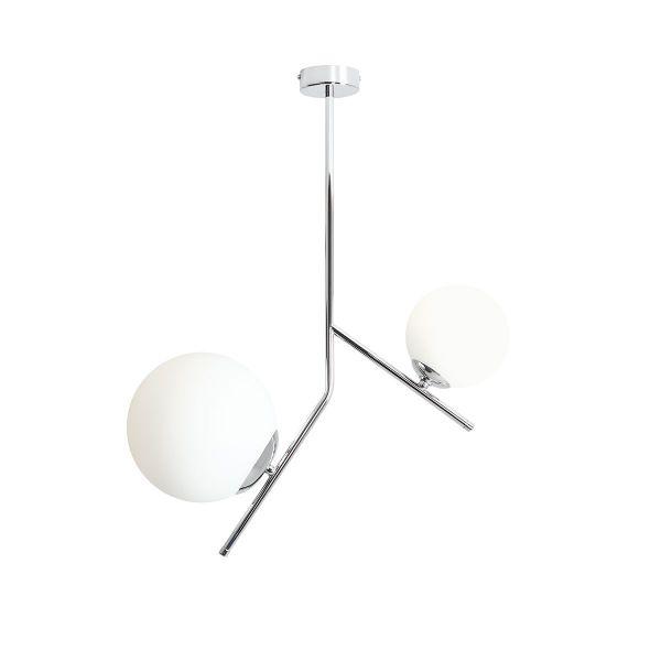 srebrna lampa wisząca na dwa klosze