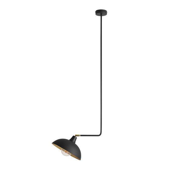 lampa wisząca na metalowym mocowaniu czarna