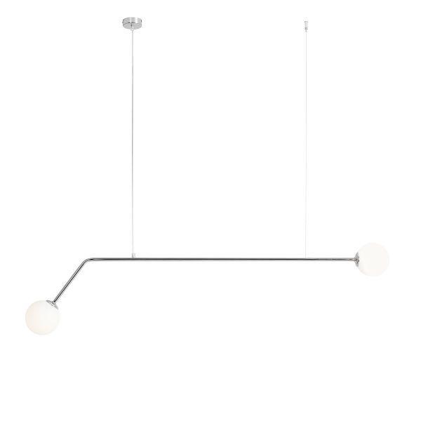 Srebrna lampa wisząca Pure - podłużna, szklane klosze