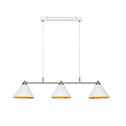 biała lampa wisząca nad stół nowoczesna