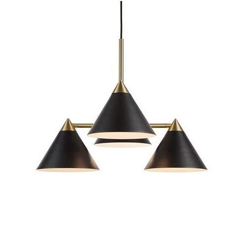 czarna lampa wisząca złote detale
