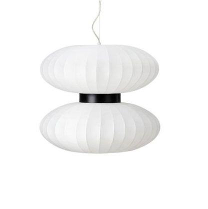 biała lampa wisząca japandi