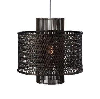 Czarna lampa wisząca Ambon - rattanowy klosz