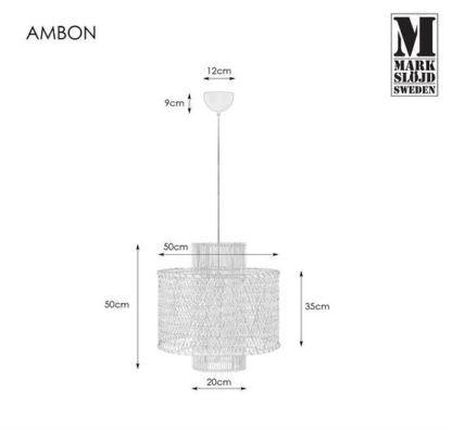 Naturalna lampa wisząca Ambon - rattanowy klosz