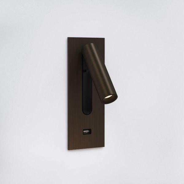 brązowy kinkiet do czytania z portem USB