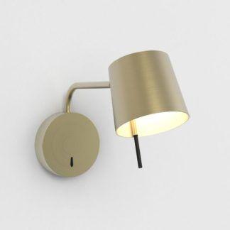 Złoty kinkiet Miura Swing Arm - LED, z włącznikiem