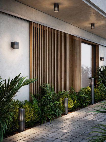 kinkiety elewacyjne i drewniane panele