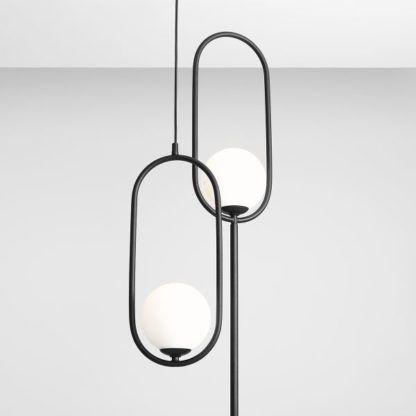 lampa wisząca elipsa z białą kulą