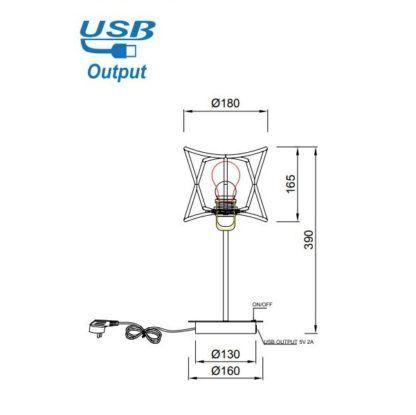 Lampa stołowa Polinesia - beżowa, port USB