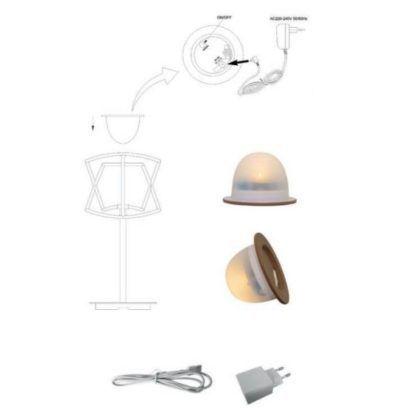 Lampa stołowa Polinesia - beżowa, na USB, IP44
