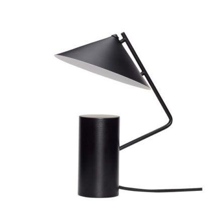 czarna lampa biurkowa stożkowy klosz